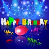 Fondo del cumpleaños con los globos coloridos Foto de archivo