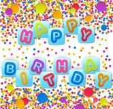 Fondo del cumpleaños con los globos coloridos Fotografía de archivo