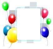 Fondo del cumpleaños con los globos coloridos Foto de archivo libre de regalías