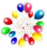 Fondo del cumpleaños con los globos coloridos Fotos de archivo libres de regalías