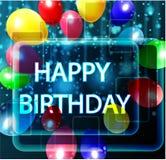 Fondo del cumpleaños con los globos coloridos Imagenes de archivo