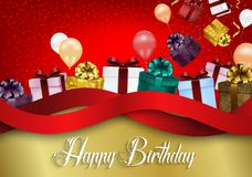 Fondo del cumpleaños con los globos del color y las cajas de regalo en fondo rojo del bokeh libre illustration