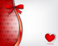 Fondo del cuore con l'arco rosso Fotografia Stock