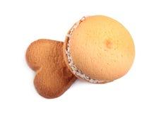 Fondo del cuore dei biscotti Fotografie Stock Libere da Diritti