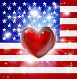 Fondo del cuore della bandiera dell'America di amore Fotografia Stock Libera da Diritti