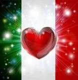 Fondo del cuore della bandiera dell'Italia di amore Fotografie Stock Libere da Diritti