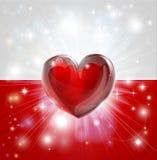 Fondo del cuore della bandiera della Polonia di amore Fotografia Stock