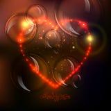 Fondo del cuore di amore dalle belle stelle luminose illustrazione di stock