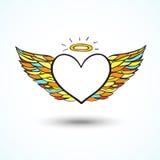 Fondo del cuore di angelo Fotografia Stock Libera da Diritti