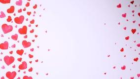 Fondo del cuore disegnato dagli acquerelli su fondo bianco Concetto di giorno dei biglietti di S stock footage
