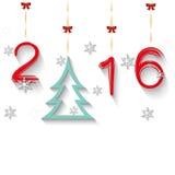 Fondo del día de fiesta con el árbol de navidad, copos de nieve Imagen de archivo