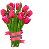 Fondo del día de fiesta con el ramo de flores rosadas Imágenes de archivo libres de regalías