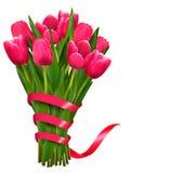 Fondo del día de fiesta con el ramo de flores y de cintas rosadas Imagen de archivo