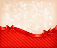 Fondo del día de fiesta con los arcos y ribbo brillantes del regalo Fotos de archivo libres de regalías
