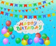 Fondo del día de fiesta con los globos, los banderines, la malla y el confeti coloridos El feliz cumpleaños de la inscripción Ilu stock de ilustración