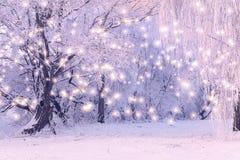Fondo del día de fiesta de la Navidad con los copos de nieve del color Fotos de archivo libres de regalías