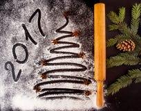 Fondo del día de fiesta de la Navidad y del Año Nuevo con el texto 2017 Fotografía de archivo