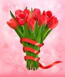 Fondo del día de fiesta de la tarjeta del día de San Valentín con el ramo de flores rosadas Imagen de archivo libre de regalías