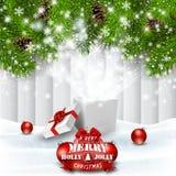 Fondo del día de fiesta de la Navidad con la caja de regalo mágica ilustración del vector