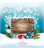 Fondo del día de fiesta de la Navidad con los presentes y la muestra de madera stock de ilustración