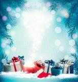 Fondo del día de fiesta de la Navidad con 2018 y caja mágica ilustración del vector