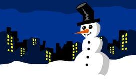 Fondo del d?a de fiesta de la Navidad del mu?eco de nieve de la noche del invierno imagenes de archivo