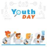 Fondo del día de la juventud con el experimento de la ciencia en laboratorio Fotos de archivo