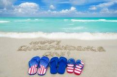 Fondo del día de los E.E.U.U. de la independencia en la playa Fotos de archivo