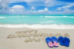 Fondo del día de los E.E.U.U. de la independencia en la playa Imagenes de archivo