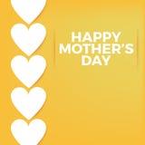 Fondo del día de madres y plantilla felices de la tarjeta con los corazones blancos Imagenes de archivo