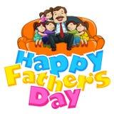 Fondo del día de padre con el padre y los niños ilustración del vector