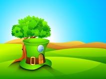 Fondo del día de St Patrick con una casa en la dimensión de una variable del leprechaun Imagen de archivo