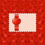 Fondo del día de tarjeta del día de San Valentín con las rosas Imágenes de archivo libres de regalías
