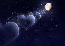 Fondo del día de tarjeta del día de San Valentín con los corazones, la luna y las estrellas Imagen de archivo libre de regalías