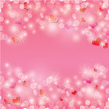 Fondo del día de tarjeta del día de San Valentín con los corazones y las luces Imagen de archivo