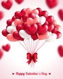 Fondo del día de tarjeta del día de San Valentín con los globos del corazón Fotos de archivo libres de regalías