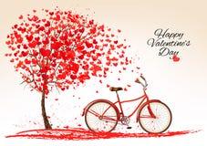 Fondo del día de tarjeta del día de San Valentín con una bici Imagen de archivo libre de regalías