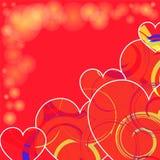 Fondo del día de tarjeta del día de San Valentín Dimensión de una variable del corazón Stock de ilustración