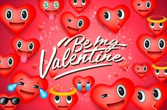 Fondo del día de tarjeta del día de San Valentín con los emoticons del corazón, caras sonrientes del emoji, ejemplo del vector Pa stock de ilustración