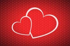 Fondo del día de tarjetas del día de San Valentín con dos corazones Imagen de archivo libre de regalías