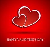Fondo del día de tarjetas del día de San Valentín con dos corazones Fotografía de archivo