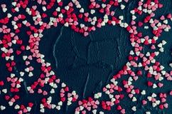 Fondo del día de tarjetas del día de San Valentín con los corazones Fotos de archivo