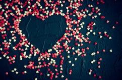 Fondo del día de tarjetas del día de San Valentín con los corazones Foto de archivo