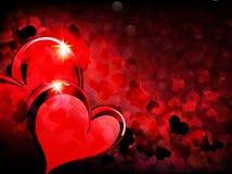 Fondo del día de tarjetas del día de San Valentín con los corazones chispeantes Imagen de archivo