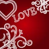 Fondo del día de tarjetas del día de San Valentín del cordón stock de ilustración