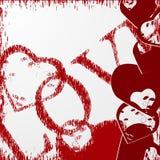 Fondo del día de tarjetas del día de San Valentín del Grunge con los corazones. ilustración del vector