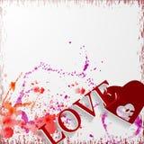 Fondo del día de tarjetas del día de San Valentín del Grunge con los corazones y s stock de ilustración