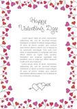 Fondo del día de tarjetas del día de San Valentín Marco rojo de la frontera de los corazones Marco de la vertical del vector Fotos de archivo
