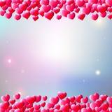 Fondo del día de tarjetas del día de San Valentín con los corazones dispersados de la gema Fotos de archivo