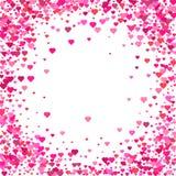 Fondo del día de tarjetas del día de San Valentín El caer de los pétalos de los corazones del confeti Corazón stock de ilustración